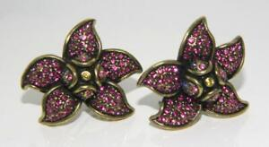 Heidi Daus Ruby Pink Crystal YOURS FOR THE PICKING Jewel FLOWERS & BEE Earrings