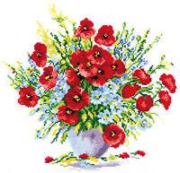 Cross Stitch Kit Poppy bouquet art. 40-26