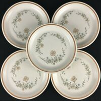 Set of 5 VTG Salad Plates by The Cellar R.H. Macy Peach Floral Japan FW-1240