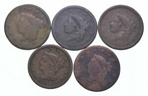 Lot of 5 1817-1857 Early US Large Cent - Dateless - History You Can Hold! *598