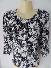 NWT White House Black Market 3/4 Sleeve Floral White Black Cardigan Sweater sz M