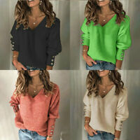 Pullover Tops Jumper Sleeve Sweater Long Womens Blouse Ladies V-Neck Knited