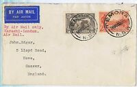 1934 (20th Aug) airmail cover to the UK with 6d sepia air & 2d Vic Centy TS311