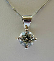 New 3/4ct Diamond Solitaire 9ct White Gold Pendant & Chain £750 or Best offer