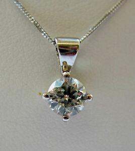 Brand New 0.40ct Diamond Solitaire 9ct White Gold Pendant & Chain £275  Freepost