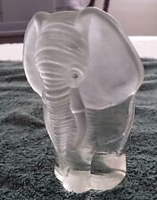 Glass Elephant Bookend Paper Weight Viking Frosted Clear 6 Inches Tall Vintage