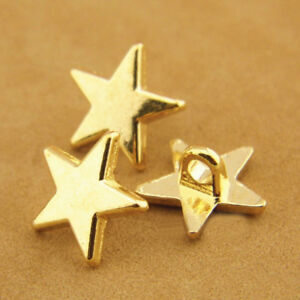 30pcs Gold Silver Star Shank Button Metal Buttons Suit Coat Sewing Craft 11mm