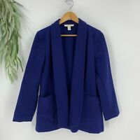 Chico's Womens Open Front Shawl Collar Duster Blazer Jacket Royal Blue Size 1 M