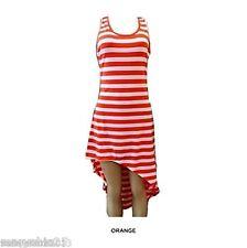 Womens Orange White Maxi Striped Sexy Summer Long Sun Beach DRESS Juniors S M L