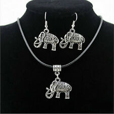 Vintage Tibet Silver Elephant Pendant Necklace Earring Hook Jewelry Set