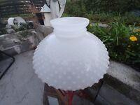 """HOBNAIL LAMPSHADE LAMP SHADE LARGE WHITE MILK GLASS HURRICANE OIL KEROSENE 15"""""""