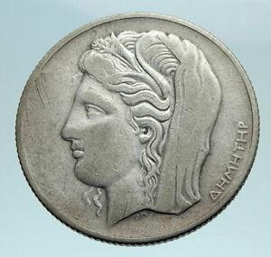 1930 GREECE Demeter with Grain Antique Genuine Antique 10 Drachmai Coin i79461