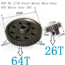 HSP RC 1/10 11184 & 11176 Differential Steel Metal Main Gear 64T Motor Gear 26T