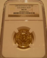 Bahamas 1990 Gold $100 NGC MS-69 Discovery of New World - Columbus Bust