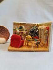"Handmade 1/144"" Diorama Room Box Cheerful CHRISTMAS GIFT WRAPPING SCENE, & TREE!"