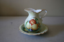 Mini Porcelain Ceramic  Pitcher and Bowl Set with Hand Painted Fruit Motif