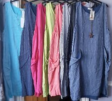 LADIES COTTON NEW ITALIAN STRIPE DESIGN SUMMER SUN QUIRKY BOHO LONG POCKET DRESS