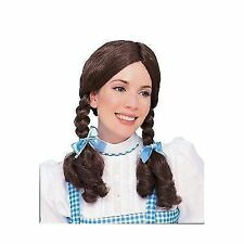 Child Wizard of Oz Dorothy Brown Braids Wig With Bows Costume Ca130