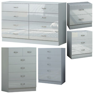 Modern Grey Gloss Bedroom Furniture. Metal Handles. Chests of Drawers /Bedsides.