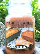 "Yankee Candle Retired ""BANANA NUT BREAD"" Large 22 oz ~ WHITE LABEL~ NEW!"
