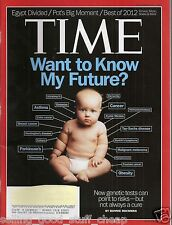 Time Magazine December 24, 2012 WANT TO KNOW MY FUTURE NEW GENETIC TEST CAN