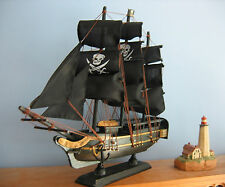 "Wooden Ship Model PIRATE SHIP with JOLLY ROGERS 13""Long FULLY ASSEMBLED Gold Trm"