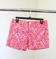 Lilly Pulitzer Callahan Printed Shorts Size 2 Coral Pink White Floral Casual