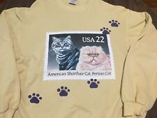Vintage American Short Hair Persian Cat Xl Yellow Sweatshirt Feline Animal