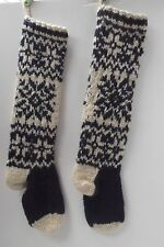 """lot of 2 hand knit 100% wool Nordic fair isle Xmas Stocking 24"""" Made in Nepal"""