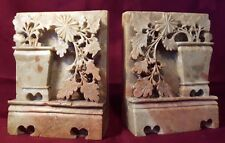 ANTIQUE CHINESE CARVED SOAPSTONE BOOKENDS