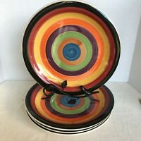 "set of 4 Philippe Richard RONDO 10 1/2"" Dinner Plates Orange Burgundy Green VGC"