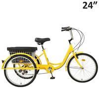 "24""Adult Tricycle 7-Speed 3 Wheel Trike Cruiser Bicycle w/Basket Shopping Yellow"