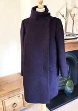 Jaeger Dark Aubergine High Collar Wool Blend Coat Size 16 Bnwt