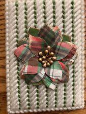 Handmade Needlepoint Plastic Canvas Gift Card Holder - Plaid Poinsettia