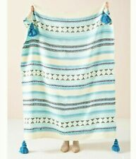NWT Anthropologie Blue Woven Lakshmi Tasseled Throw Blanket