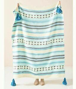 NWT Anthropologie Blue Woven Lakshmi Tasseled Throw Blanket