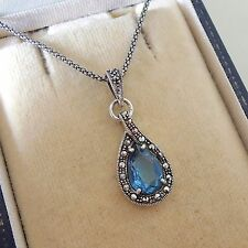 Sterling Silver Aquamarine and Marcasite Pendant Necklace