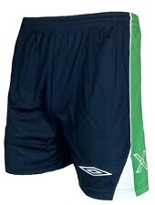 Mens XL UMBRO Evo X Football Shorts Navy Green Training Gym Running Polyester