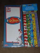 Dr. Seuss 10 Ct. Pencils & The Cat In The Hat Magnetic Notepad 40 Sheets-New