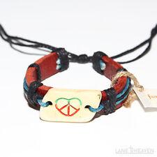 Heart on Stone Charm Leather Bracelet w/ Peace Symbol Inside the Heart