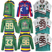 The Mighty Ducks Jersey #96 Charlie Conway #99 Adam Banks Men's Hockey Jersey