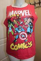 Marvel Comics Cut off Sleeve Sleeveless Red T-Shirt Juniors Size 2X