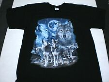 BRAND NEW ADULT  GRAY WOLF WOLVES HOWLING WILDLIFE BLACK COTTON T-SHIRT 2XL XXL