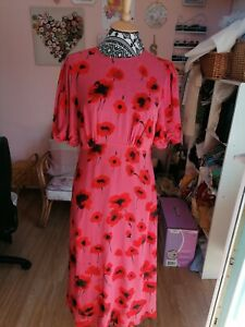 Ladies GHOST floral dress size small,ruched sleeve & open back bnwot RRP155