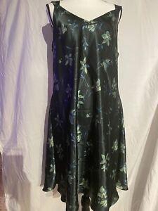 Jones New York Satin Chemise Negligee Nightgown Dark Green Floral XL/2X