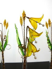 Yellow Bells Grass & Vase Unique Ornament Glass Gift Set Permanent Table Flowers