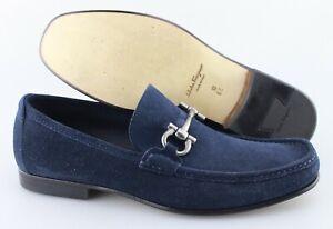 Men's SALVATORE FERRAGAMO 'Giordano' Blue Suede Loafers Size US 10 - 2E