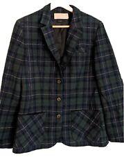 Pendleton 100% Virgin Wool Womens Vintage Jacket green plaid dark academia Xs