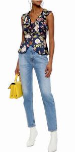 Alice + Olivia Navy Floral Silk Blouse Size 12 $265