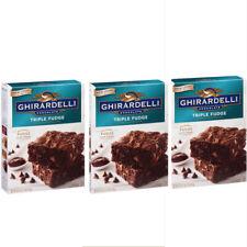 Ghirardelli Triple Fudge Premium Brownie Mix 19 oz Chocolate Chips x3 Lot Pack